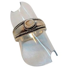Vintage Textured Sterling Silver Small White Genuine Stone Ring