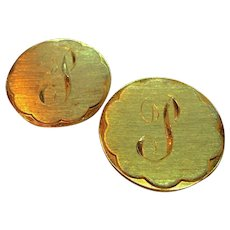 Vintage Fancy Script  Initial P  Goldtone Metal Scatter Pins