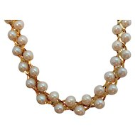 Vintage Braided Style Imitation Pearls Goldtone Metal Necklace
