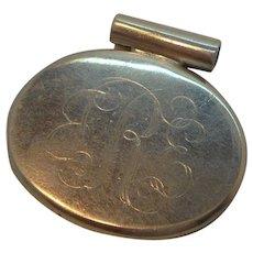 Vintage Oval Shaped Sterling Silver Monogrammed Pendant