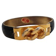 Vintage Two Tone Metal Buckle Design Bracelet Made in Italy