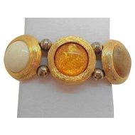 Vintage Bold Round Orange Creme Lucite Goldtone Metal Stretchy Bracelet