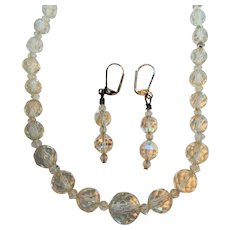 Vintage Faceted Crystal Beaded Necklace Dangle Pierced Earrings Set