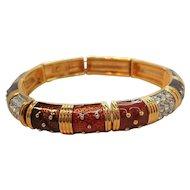 Vintage Joan Rivers Glossy Enameled Rhinestone Goldtone Metal Stretchy Bracelet