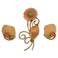 Vintage Textured Goldtone Green Rhinestone Flower Brooch Clip on Earring Set