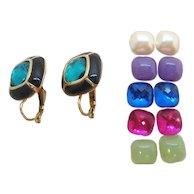 Vintage Joan Rivers  Dangle Pierced Earrings Interchangeable Colors