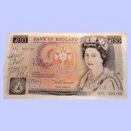 Bank of England  Ten Pounds Queen Elizabeth II Florence Nightingale 1980