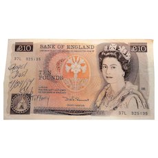 Bank of England  Ten Pounds Queen Elizabeth II Florence Nightingale 1980