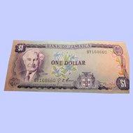 Bank Of Jamaica One Dollar Bill 1960