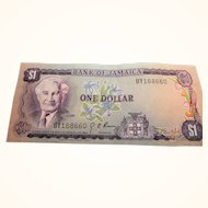 Bank Of Jamaica One Dollar Bill 1960