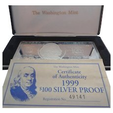 The Washington Mint $100 .999 Silver Proof MIB