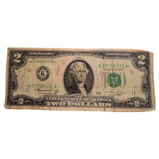 US Currency Two Dollar Bill  Series 1976