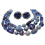 Vintage Venetian Glass Wedding Cake Imitation Pearl Beaded Necklace Earring Set
