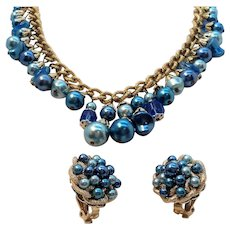 Vintage Blue Imitation Pearls Dangle Beaded Necklace Clip On Earring Set