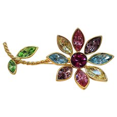 Vintage Graziano Dimensional Pastel Rhinestones Flower Brooch