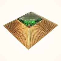 Vintage Large Cadoro Dimensional Square Shaped Green Glass Brooch