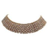 Vintage Goldtone Metal Collar Bib Rhinestone Necklace