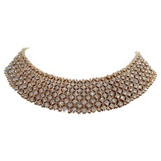 Vintage Goldtone Metal Collar Bib Rhinestone Necklace