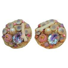 Vintage Unusual Sea Shell Rhinestone Clip On Earrings