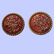 Vintage Fuhrman Swiss Deep Red Cabochon Clip On Earrings