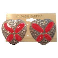 Vintage Red Enameled Metal Pierced Earrings NOS  MOC 1980s