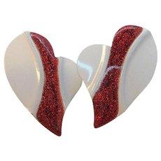 Vintage White Red Glitter Enameled Heart Shaped Pierced Earrings NOS