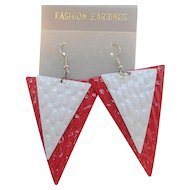 Vintage Bold Triangular Shaped Dangle Red White Pierced Earrings NOS