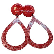 Vintage Red Enameled Glitter Dangle Pierced Earrings NOS  MOC