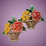 Vintage Spring Flowers In Basket Pair Scatter Pins