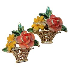 Vintage Spring Flowers In Basket Pair Scatter Pins
