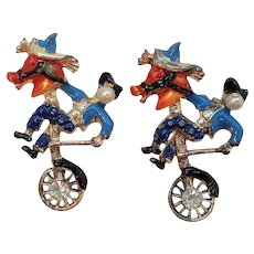 Vintage Fun Unusual Horse Cowboy Unicycle Pair of Scatter Pins