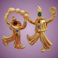 Vintage JJ Dimensional Rhinestone Imitation Pearls Clown Scatter Pins