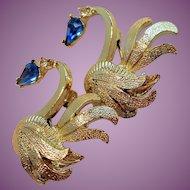 Vintage Goldtone Blue Rhinestone Swans Scatter Pins