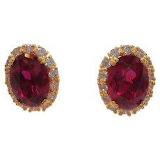 Vintage Camrose Kross Oval Shaped Red Pierced Earrings  MIB