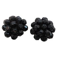 Vintage Laguna Black Glass Beaded Clip On Earrings  NOS  MOC