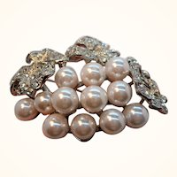 Vintage Dimensional Imitation Pearls Rhinestones Silvertone Brooch