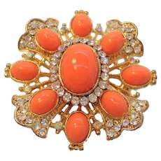 Vintage Goldtone Coral Colored Oval Lucite Cabs Clear Rhinestones Brooch