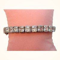 Vintage Silvertone Clear Square Shaped Tennis Style Rhinestones Bracelet