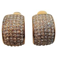 Vintage Carre Dimensional Goldtone Metal Clear Rhinestone Clip On Earrings