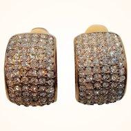 Vintage Carre Dimensional Goldtone Metal Clear Rhinestone Clip On Earrings