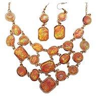 Vintage Fun Iridescent Coral Colored Lucite Cabs Necklace Dangle Pierced Ear Set