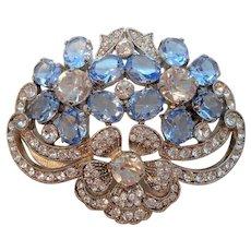 Vintage Ice Blue Clear Rhinestones Floral Brooch