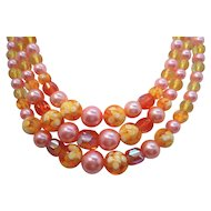 Vintage Triple Strand Orange Yellow Confetti Filled Lucite Beaded Necklace