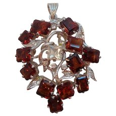 Vintage Garnet Red Baguette Square Unfoiled Glass  Stones Pendant