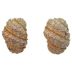 Vintage Carre Goldtone Pave Rhinestone Clip On Earrings