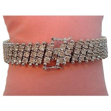 Vintage Nolan Miller Silvertone Metal Clear Rhinestone Bracelet