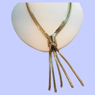 Retro Sleek Double Strand Goldtone Metal Articulated Dangle Necklace