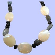 Vintage Mother Of Pearl Genuine Charcoal Grey Stones Beaded Necklace