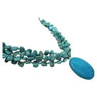 Vintage Blue Four Strand Statement Necklace Large Drop Pendant