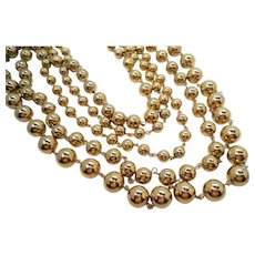 Vintage Shiny Goldtone Metal Five Strand Graduated Beaded Necklace